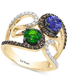 Le Vian Chocolatier® Neo Geo™ Multi-Gemstone (1-3/8 ct. t.w.) and Diamond (5/8 ct. t.w.) Swirl Ring in 14k Gold, Created for Macy's