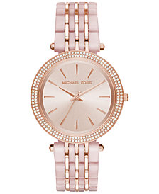Michael Kors Women's Darci Rose Gold-Tone Stainless Steel and Blush Acetate Bracelet Watch 39mm MK4327
