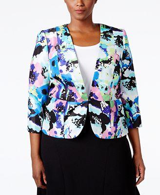 Kasper Plus Size Printed Shantung Jacket