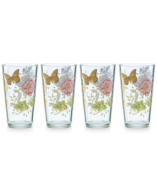 Lenox Butterfly Meadow Collection Acrylic Highball Glasses, Set of 4