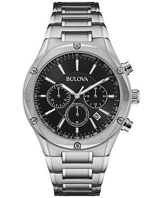 Bulova Men's Chronograph Stainless Steel Bracelet Watch 43mm 96B247