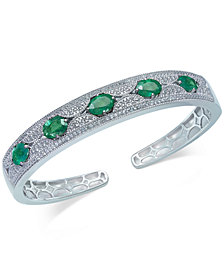 Emerald (5 ct. t.w.) and White Sapphire (1 ct. t.w.) Cuff Bracelet in Sterling Silver, Created for Macy's