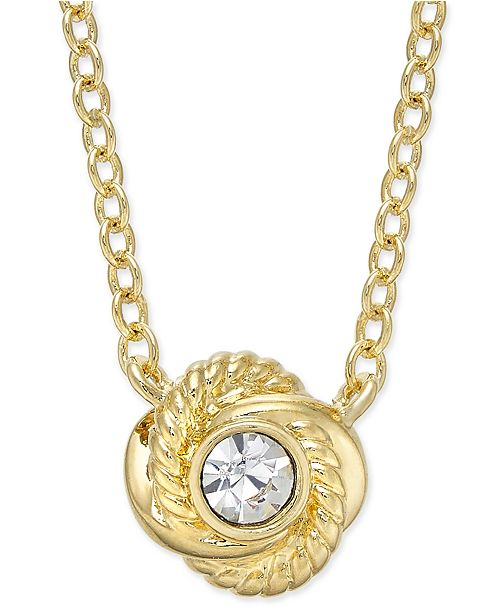 kate spade new york Infinity & Beyond Gold-Tone Crystal Knot Pendant Necklace
