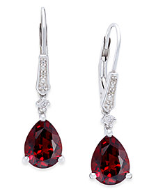 T W And Diamond Accent Birthstone Drop Earrings In Sterling Silver