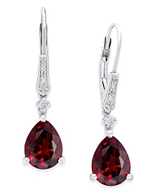 Gemstone (3 ct. t.w.) and Diamond Accent Birthstone Drop Earrings in Sterling Silver