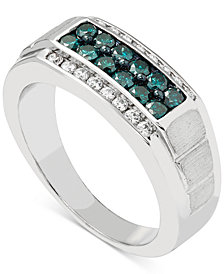 Men's Blue & White Diamond (1 ct. t.w.) Ring in 10k White Gold
