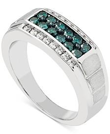 Men's Blue & White Diamond (1 ct. t.w.) Ring in 10k White Gold