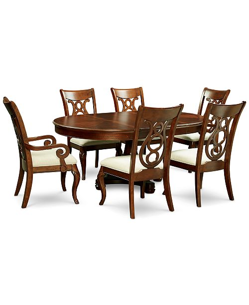 Bordeaux Pedestal Round 7-Pc. Dining Room Set (Dining Table, 4 Side Chairs & 2 Arm Chairs)