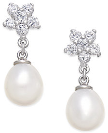 Cultured Freshwater Pearl (7x9mm) and Cubic Zirconia Flower Top Drop Earrings in Sterling Silver