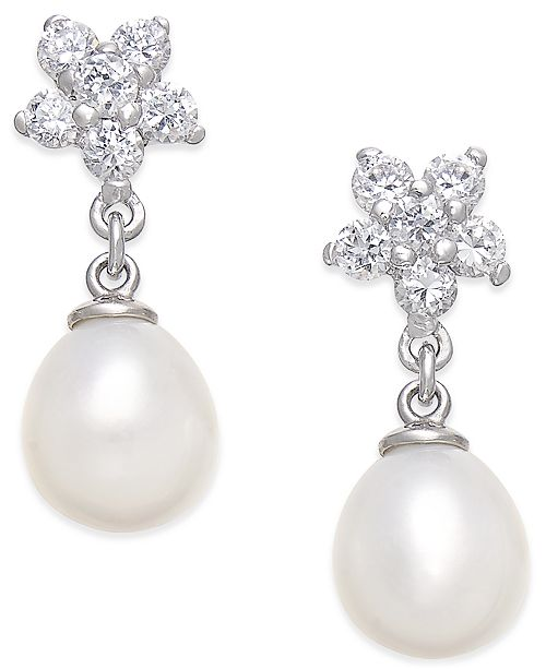 Macy's Cultured Freshwater Pearl (7x9mm) and Cubic Zirconia Flower Top Drop Earrings in Sterling Silver