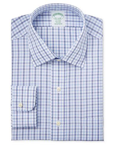 Brooks Brothers Men's Milano Extra Slim-Fit Blue Tattersall Dress Shirt