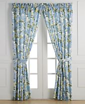 "Ellis Curtain Hydrangea Pair of 34"" x 84"" Tailored Panels With Tiebacks"