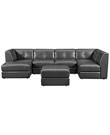 CLOSEOUT! Fabrina 6-Pc. Leather Modular with Chaise & Ottoman, Created for Macy's