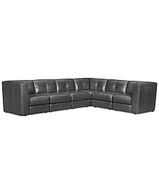 """CLOSEOUT! Fabrina 6-Pc. Leather """"L"""" Shaped Modular, Created for Macy's"""