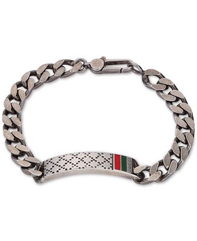Gucci Men's Sterling Silver Diamond Pattern Bracelet YBA295676001021