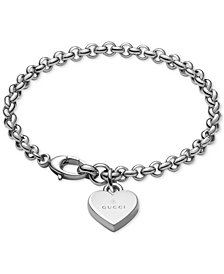 Gucci Women's Sterling Silver Heart Charm Bracelet YBA356210001018