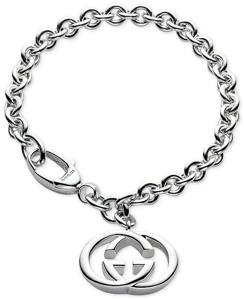 9fcc81ce546 Gucci Women s Sterling Silver Interlocked GG Motif Charm Bracelet  YBA190501001