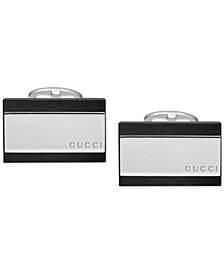 Gucci Men's Sterling Silver and Black Leather Cufflinks YBE37383000100U