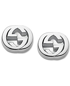 Gucci Women's Sterling Silver Interlocking G Stud Earrings YBD35628900100U