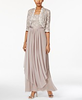 14835fb81583 R M Richards Sequined Lace Belted Gown and Jacket