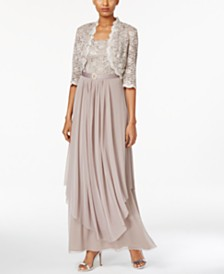 R M Richards Sequined Lace Belted Gown And Jacket
