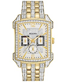 Bulova Men's Crystal Gold-Tone Stainless Steel Bracelet Watch 33x42mm 98C109