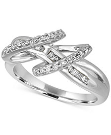 Diamond Baguette Double Loop Ring (1/3 ct. t.w.) in Sterling Silver