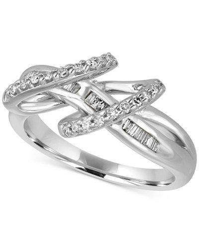 Diamond Baguette Double Loop Ring (1/3 ct. t.w.) in Sterling Silver