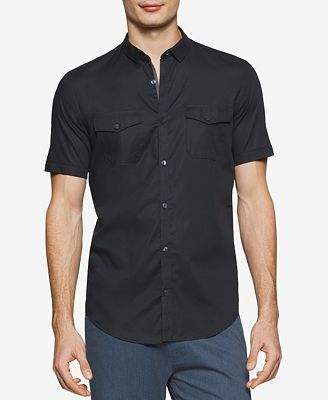 Calvin Klein Men's Slim-Fit Striped Dobby Short-Sleeve Shirt ...