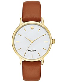 Women's Metro Luggage Leather Strap Watch 34mm KSW1142