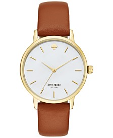 kate spade new york Women's Metro Luggage Leather Strap Watch 34mm KSW1142