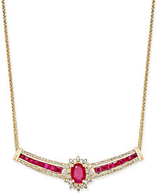 Ruby (3 ct. t.w.) and Diamond (3/4 ct. t.w.) Necklace in 14k Gold