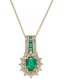 Emerald (1-1/3 ct. t.w.) and Diamond (1/2 ct. t.w.) Pendant Necklace in 14k Gold