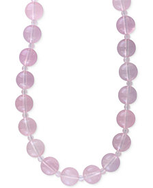 EFFY® Rose Quartz (4 & 12mm) Beaded Collar Necklace in 14k Gold