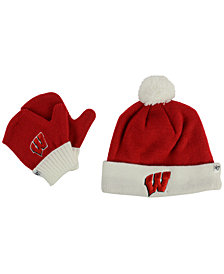'47 Brand Toddlers' Wisconsin Badgers Knit Hat and Mittens Set