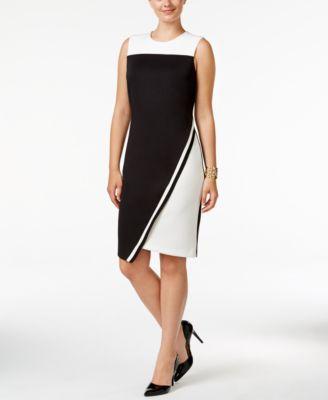 df900319 Tommy Hilfiger Colorblocked Asymmetrical Scuba Dress & Reviews - Dresses -  Women - Macy's