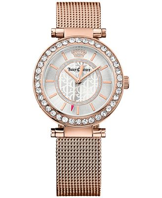 Juicy Couture Women's Cali Rose Gold-Tone Stainless Steel Mesh Bracelet Watch 34mm 1901374