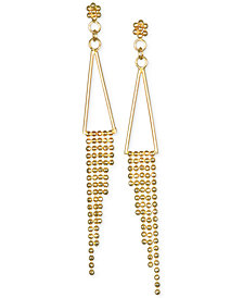 Polished Triangle Fringe Drop Earrings in 10k Gold