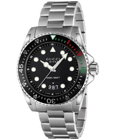 gucci watches macy s gucci men s swiss dive stainless steel bracelet watch 45mm ya136208