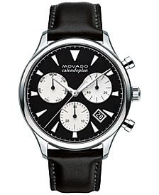 Men's Swiss Chronograph Heritage Series Calendoplan Black Leather Strap Watch 43mm 3650005