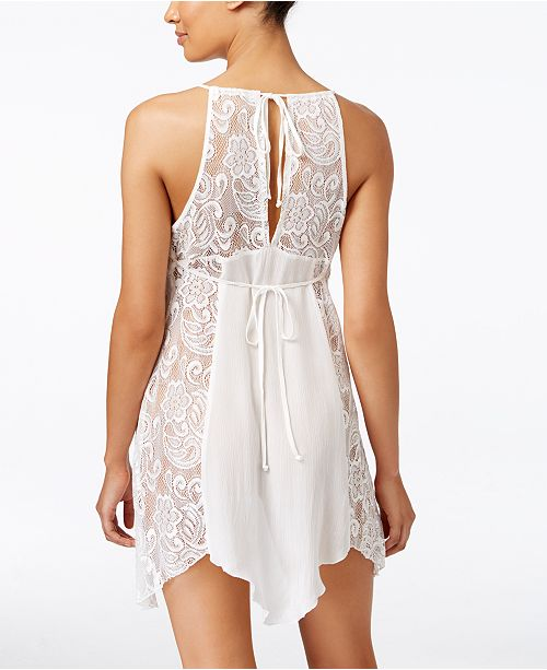 Linea Donatella Flower Child Sheer Lace Chemise Nightgown