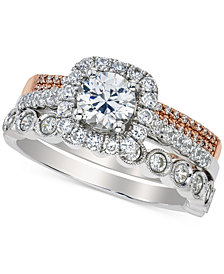 Diamond Halo Bridal Set (1-1/2 ct. t.w.) in 14k White and Rose Gold