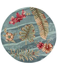 """Kas Coral 4166 Seafoam Visions 5'6"""" Round Rug"""