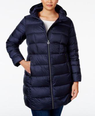 michael michael kors plus size hooded packable down puffer coat
