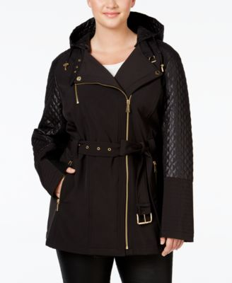 MICHAEL Michael Kors Plus Size Hooded Faux-Leather-Trim Asymmetrical Jacket