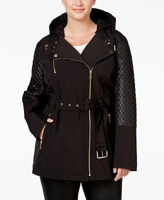 MICHAEL Michael Kors Plus Size Hooded Faux-Leather-Trim ...