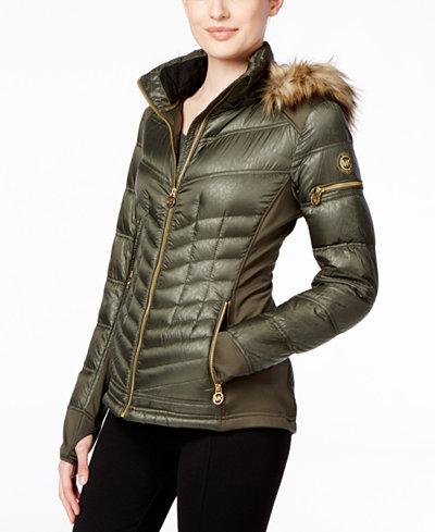 Michael Michael Kors Faux Fur Trim Mixed Media Puffer Coat