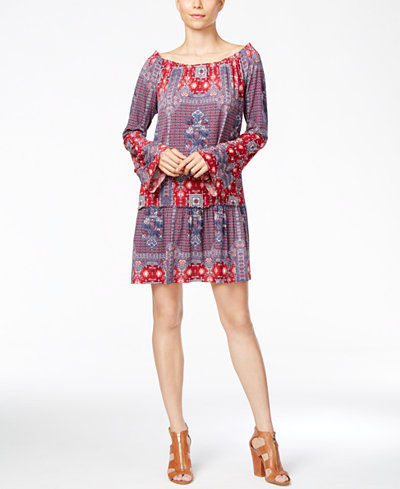 BCBGeneration Bell-Sleeve Printed Peasant Dress