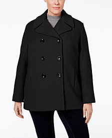 Calvin Klein Plus Size Wool-Cashmere-Blend Peacoat, Created for Macy's