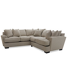 """Ainsley 2-Piece """"L"""" Shaped Fabric Sectional with 6 Toss Pillows, Created for Macy's"""